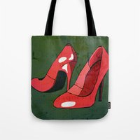 heels Tote Bags featuring HIGH HEELS by SAMHAIN