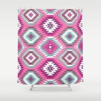 navajo Shower Curtains featuring Navajo Dreams-Pink by Bohemian Gypsy Jane