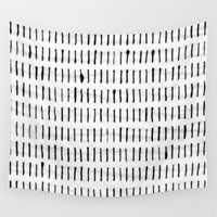 woodstock Wall Tapestries featuring Black Ink Woodstock Pattern on White  by LacyDermy