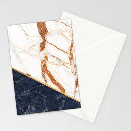 Classy Elegant White Blue Gold Marble Stationery Cards