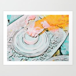 Hands of the ceramist craftsman Art Print