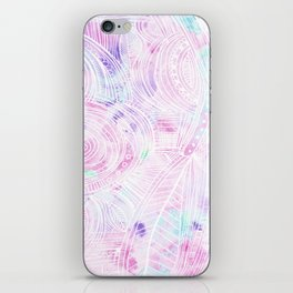 Hand painted watercolor pink teal white zentangle floral iPhone Skin