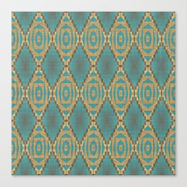 Teal Turquoise Khaki Brown Rustic Mosaic Pattern Canvas Print