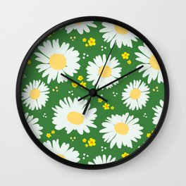 Spring Daisies 001 on Green Wall Clock