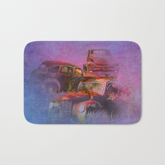 cars lost in the mist of time Bath Mat