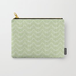Nappy Faux Velvet Petal Chevron in Lime Green Carry-All Pouch