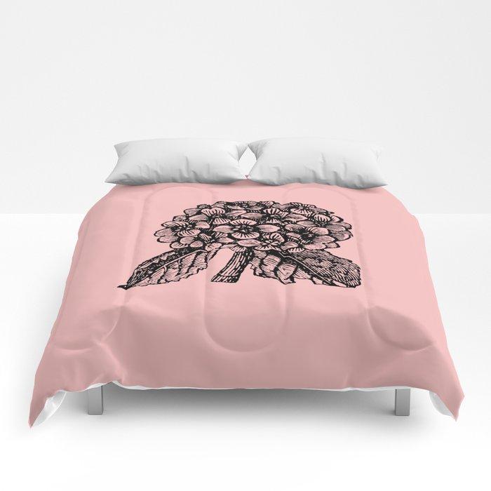 Pink Hydrangea Comforters