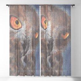 Midnight Owl Sheer Curtain
