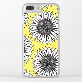 Yellow Sunflower in Black and White Hand Drawing Clear iPhone Case