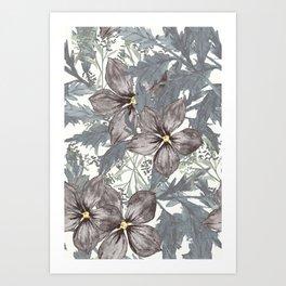 Indigo Florals Art Print
