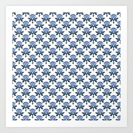Ajrak Woodblock Floral Print in Blue Art Print