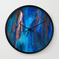 beth hoeckel Wall Clocks featuring Father Sky by Beth Ann Short by Beth Ann Short