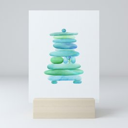 Sea Glass Cairn Watercolor Mini Art Print