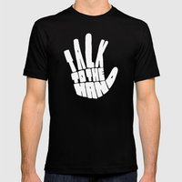 Talk To The Hand Black MEDIUM Mens Fitted Tee