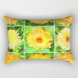 Watercolour Collage of Yellow And Orange Marigolds Rectangular Pillow