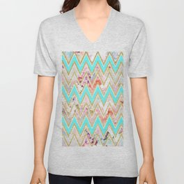Chic floral watercolor gold chevron pastel teal pattern Unisex V-Neck