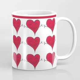 Happy Red Heart Hug Cartoon Coffee Mug