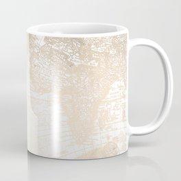 Antique White Gold World Map Coffee Mug