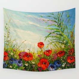 Field in poppies and cornflowers Wall Tapestry