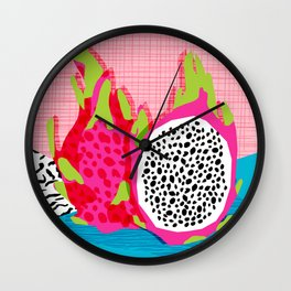 Hard Core - memphis throwback retro neon tropical fruit dragonfruit exotic 1980s 80s style pop art Wall Clock