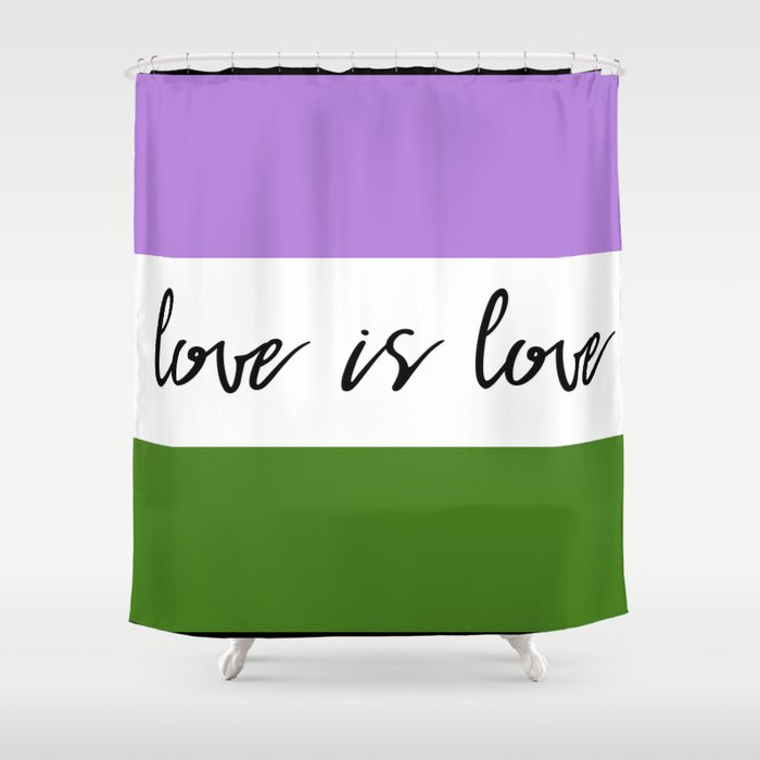Love is love genderqueer flag Shower Curtain