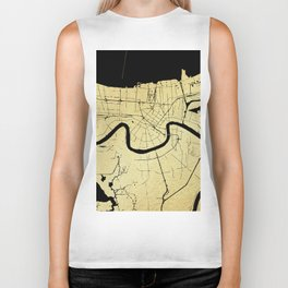 New Orleans Black and Gold Map Biker Tank