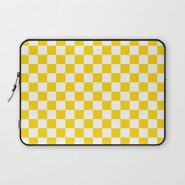 Small Checkered - White and Gold Yellow Laptop Sleeve