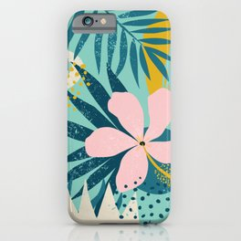 Hawaii Pastel Pink & Mint Green Tropical Floral-Prints iPhone Case