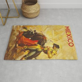 Vintage Mexico Bullfighting Travel Rug