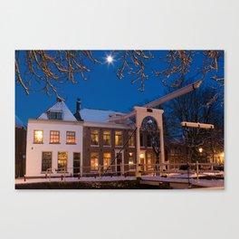 Winter Evening - Weesp, the Netherlands Canvas Print