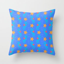 Blue Seahorses And Starfish Pattern Throw Pillow