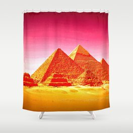 Pyramids At Giza Pink Sunset Shower Curtain