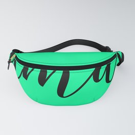 'Namaste' Pose in Neon Mint Green and Black Yoga Exercise Fanny Pack