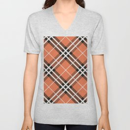 Traditional orange and white Scottish plaid tartan. Unisex V-Neck