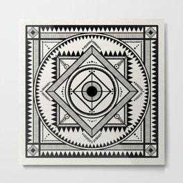 Western tribal square mandala 3 - black on neutral Metal Print