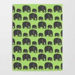 Elephant Wild Green Poster