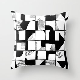Black and White Typographical Fragmentation Cheater Quilt Throw Pillow