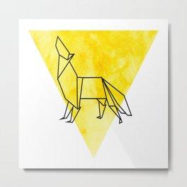 Origami Wolf Metal Print