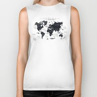 letters Biker Tanks featuring The World Map by Mike Koubou