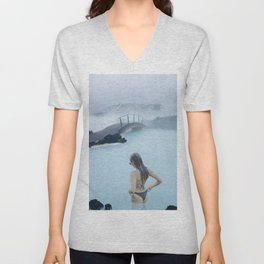 Woman in the Blue Lagoon Iceland Unisex V-Neck