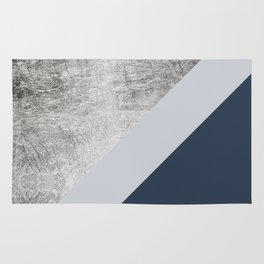 Modern minimalist navy blue grey and silver foil geometric color block Rug