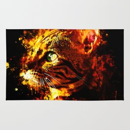 bengal cat yearns for freedom splatter watercolor Rug