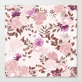Vintage Pink Flowers Painted Watercolour Garden Pattern Canvas Print