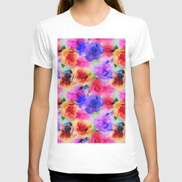 Colorful abstract modern roses flowers pattern T-shirt