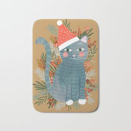 Blue Cat cute christmas xmas tree holiday funny cat art cat lady gift unique pet gifts Bath Mat