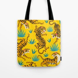 Yellow Tiger Tropical Pattern Tote Bag