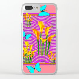 Pink Coral-Purple Blue Butterfly Lily Art Clear iPhone Case
