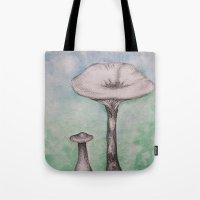mushrooms Tote Bags featuring mushrooms by Diane Nicholson