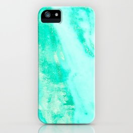 Shimmery Sea Green Turquoise Marble Metallic iPhone Case