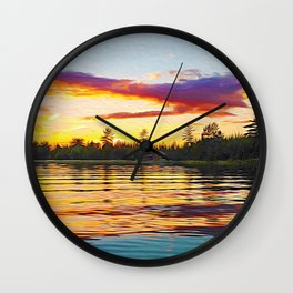 Up North Sunset Wall Clock